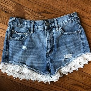 Free People Lace Edge Jean Shorts